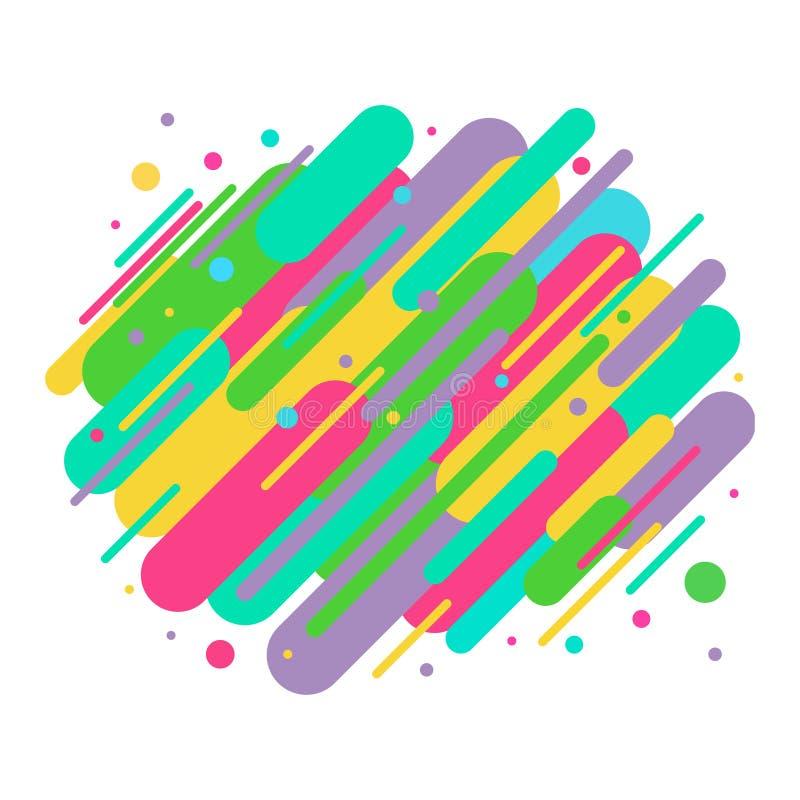 L'estratto ha colorato le linee di forme arrotondate nel ritmo diagonale illustrazione vettoriale