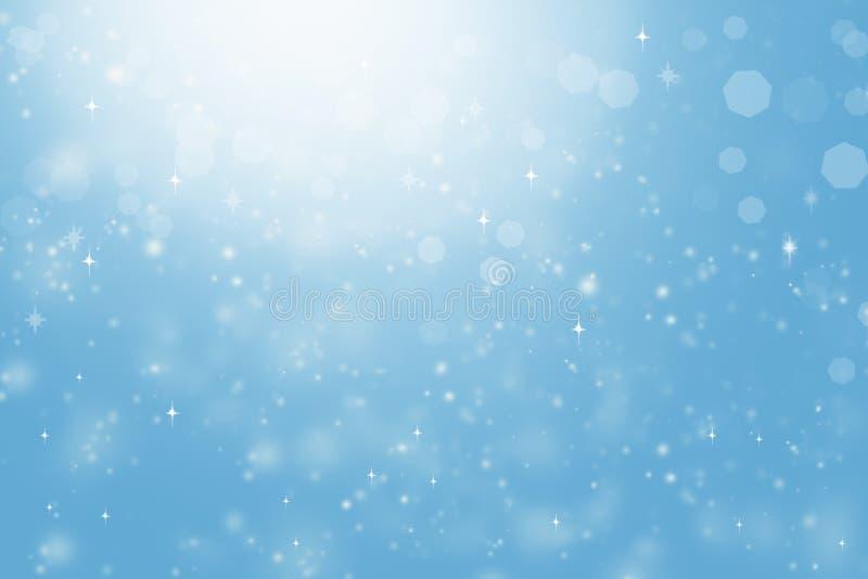 L'estratto ha offuscato il fondo blu, luce, stelle, bokeh fotografie stock libere da diritti