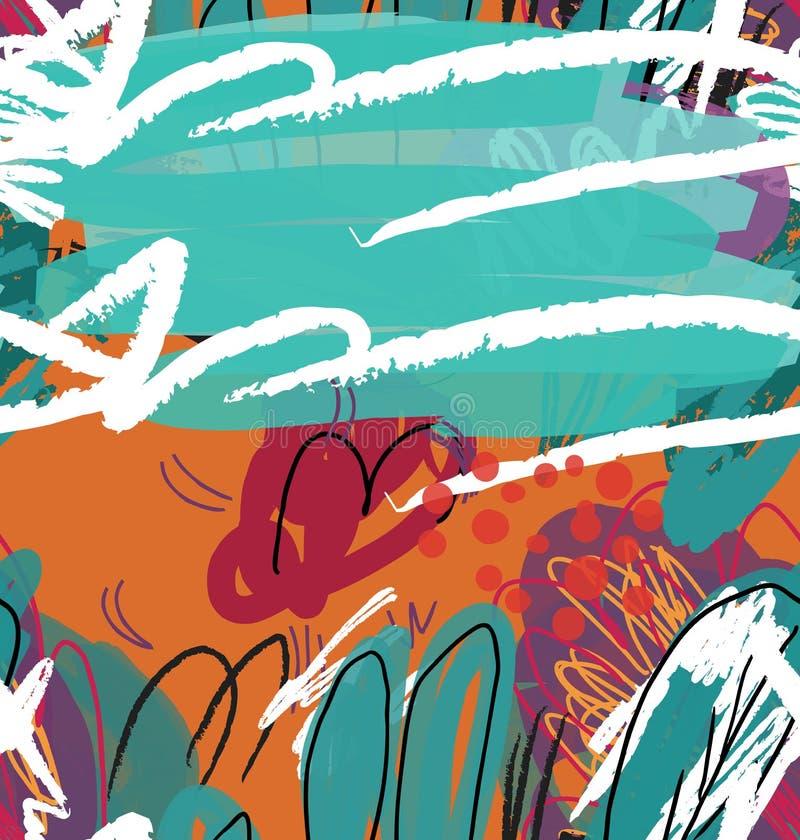 L'estratto ha schizzato il verde e l'arancia degli alberi del giardino royalty illustrazione gratis