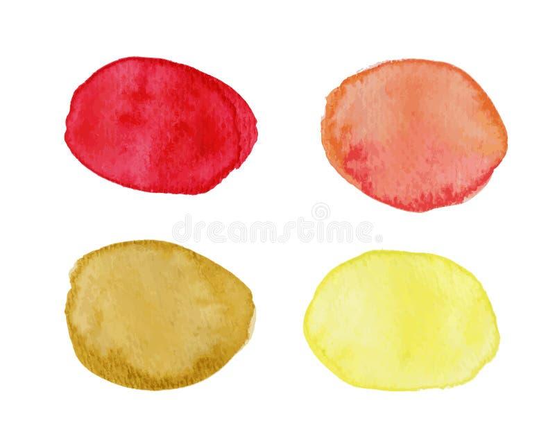 L'estratto macchia con effetto dell'acquerello in tavolozza rossa e gialla illustrazione vettoriale