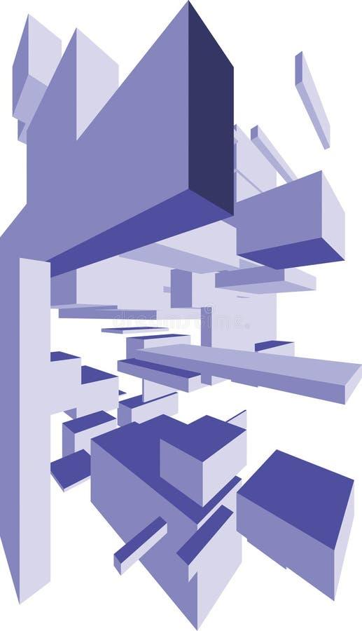L'estratto modella le caselle 3D illustrazione di stock