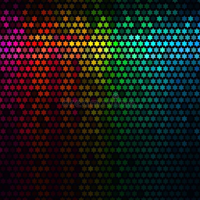 L'estratto multicolore illumina la priorità bassa della discoteca Vettore del mosaico del pixel della stella illustrazione vettoriale