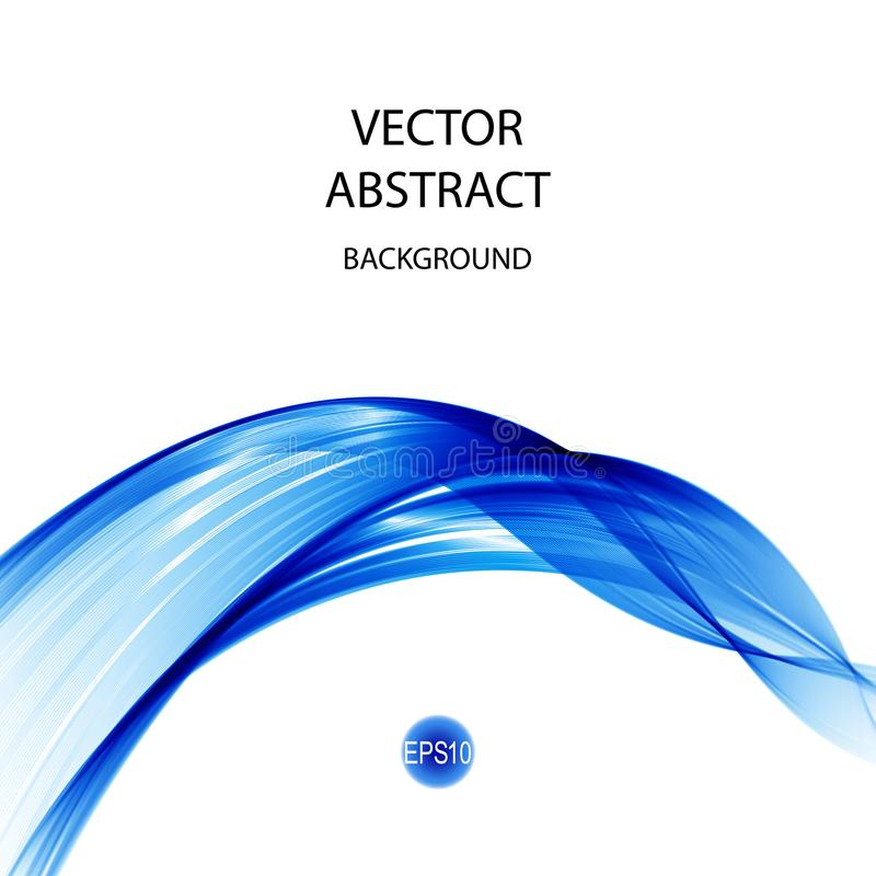 L'estratto ondeggia il fondo nel colore blu, isolato su bianco ENV 10 illustrazione di stock