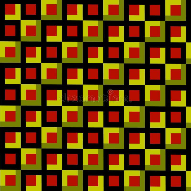 L'estratto quadra il fondo del mosaico Illustrazione di stile dell'annata Arte decorativa geometrica Olive Green Brown ed il nero illustrazione di stock