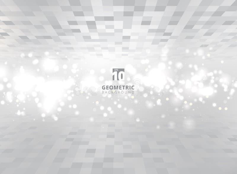 L'estratto quadra il fondo grigio e bianco geometrico di prospettiva illustrazione vettoriale