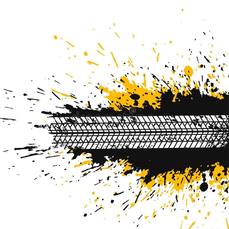 L'estratto schizza il fondo con la pista della gomma illustrazione vettoriale
