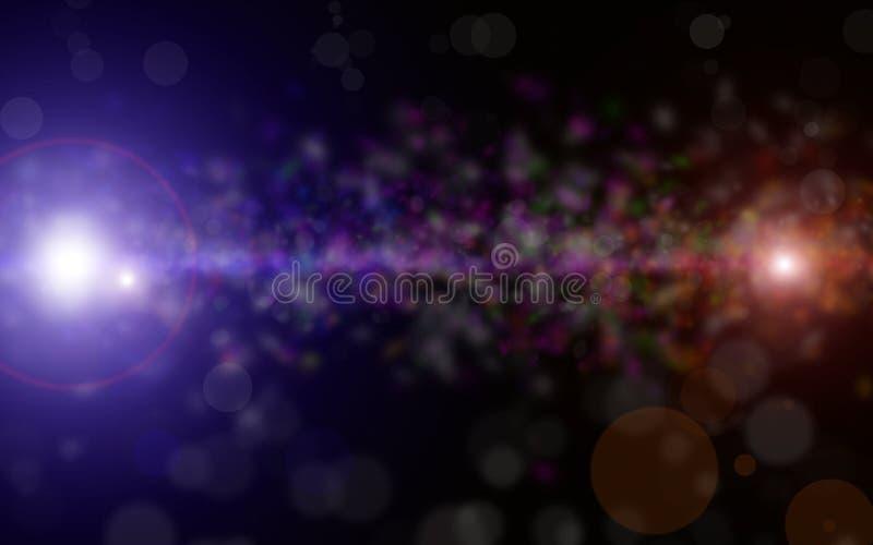 L'estratto vago e fondo di Bokeh con scintillio blu scintilla bokeh delle luci dei raggi sul fondo nero del cielo luci e struttur royalty illustrazione gratis