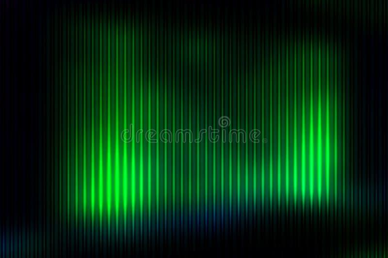 L'estratto verde al neon d'ardore con le linee leggere ha offuscato il fondo illustrazione di stock