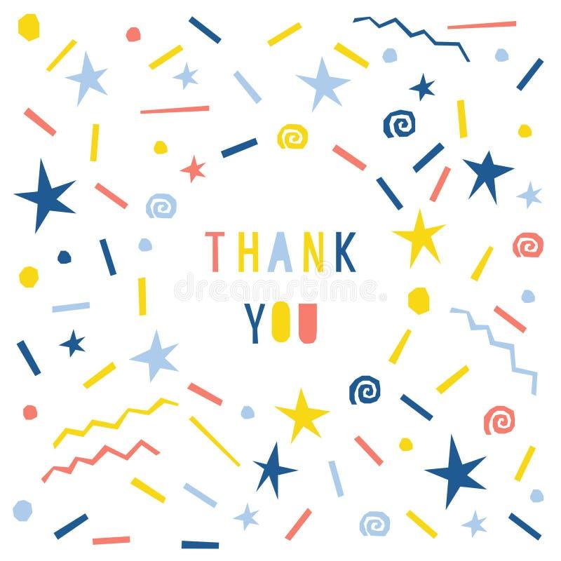L'estratto vi ringrazia cardare il modello Fondo puerile fatto a mano del modello delle lettere per la carta di regalo di progett illustrazione vettoriale