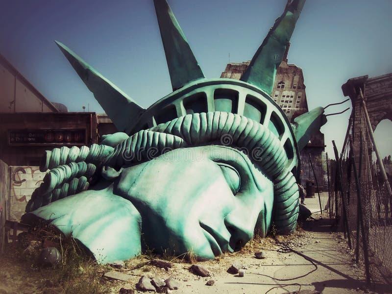 L'estremità del mondo Visione apocalittica del mondo futuro manhattan fotografia stock libera da diritti