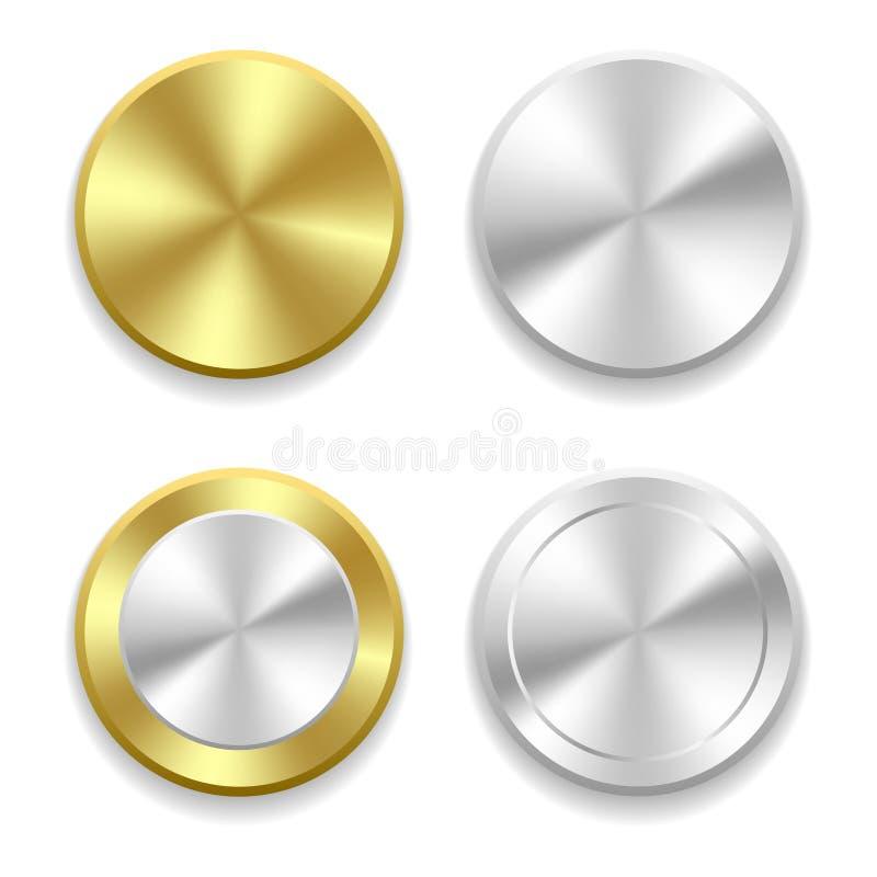 L'or et l'argent réalistes se boutonnent avec le traitement circulaire Illustration de vecteur illustration libre de droits