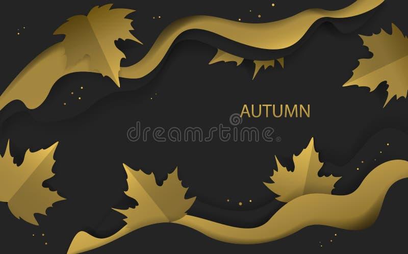 L'or et le noir de saison de thanksgiving de chute d'automne ont coloré la bannière avec les feuilles de papier d'arbre d'érable  illustration de vecteur