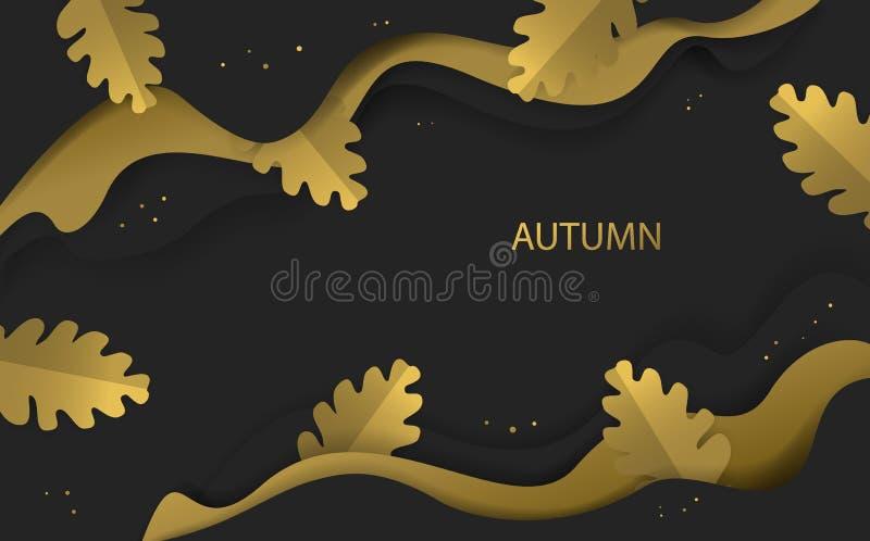 L'or et le noir de saison de thanksgiving de chute d'automne ont coloré la bannière avec les feuilles de papier de chêne de style illustration de vecteur