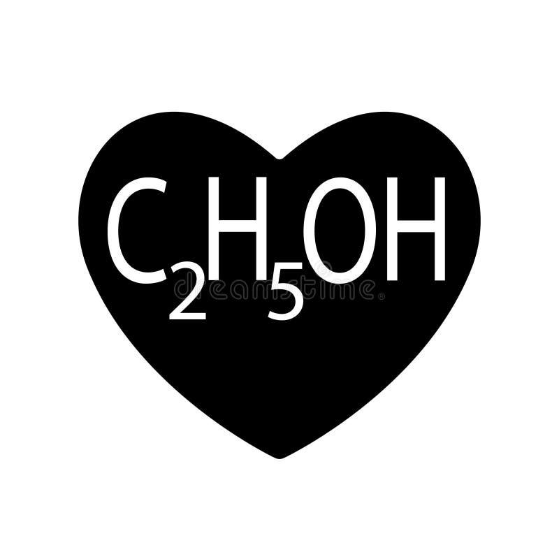 L'etanolo o l'alcool, etile è trovato nel cuore nero per il giorno di biglietti di S. Valentino, bevande prodotte tramite la ferm illustrazione di stock