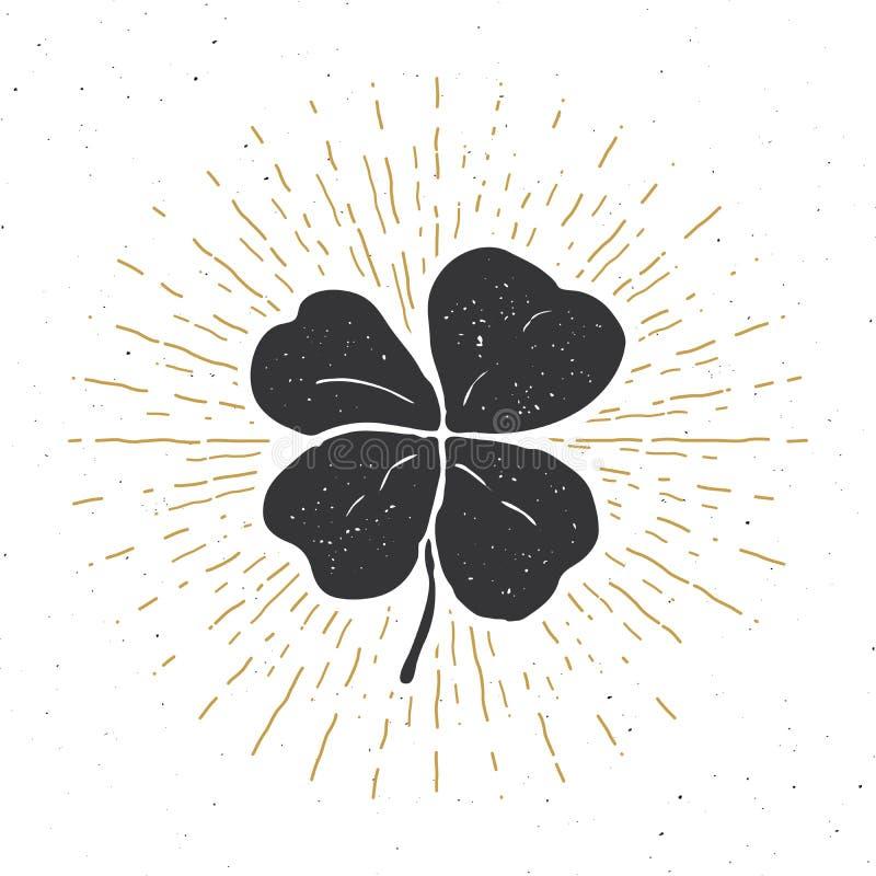 L'etichetta d'annata, il quadrifoglio fortunato disegnato a mano, la cartolina d'auguri felice del giorno di Patricks del san, le illustrazione di stock