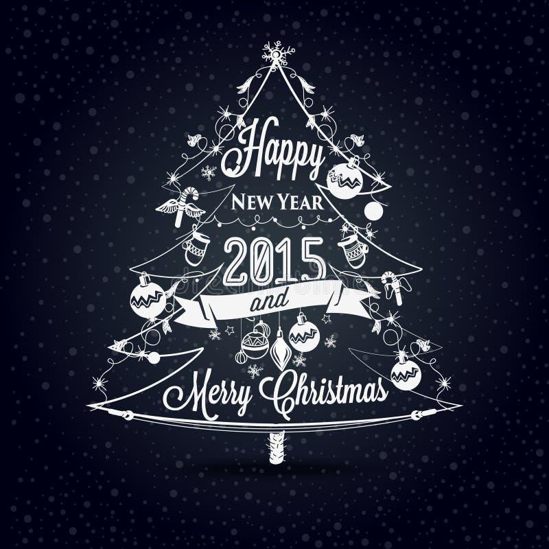 L'etichetta del nuovo anno e di Natale, decorazione per voi progetta illustrazione vettoriale