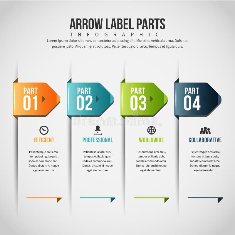 L'etichetta della freccia parte Infographic royalty illustrazione gratis