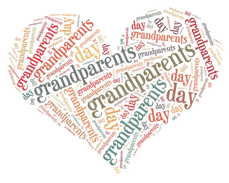 L'etichetta o il giorno dei nonni della nuvola di parola si è riferito nella forma di cuore illustrazione di stock