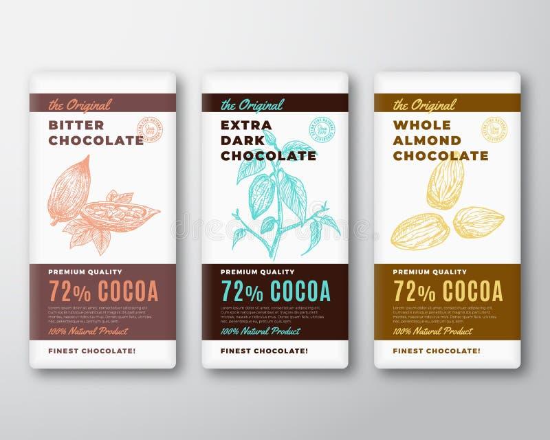 L'etichetta più fine originale di progettazione di imballaggio di vettore dell'estratto del cioccolato Tipografia moderna e ramo  illustrazione vettoriale