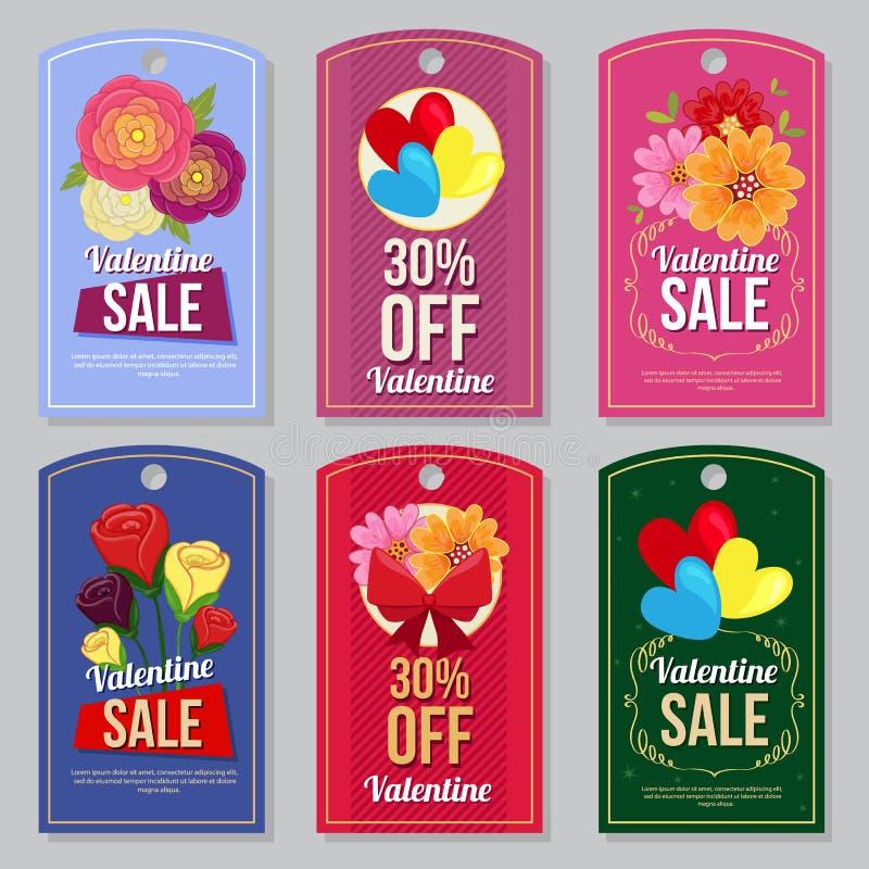 L'etichetta sveglia della raccolta del biglietto di S. Valentino ha messo il fiore piano del ranuncolo di stile illustrazione vettoriale