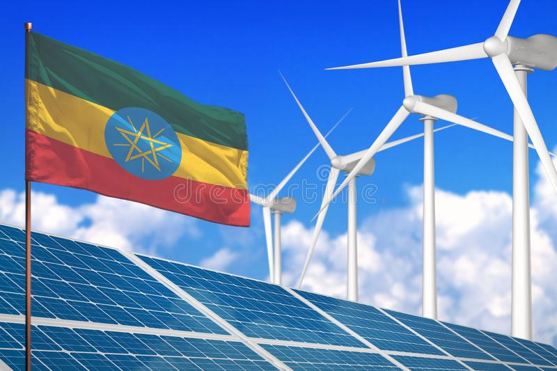 L'Etiopia solare e energia eolica, concetto con i pannelli solari - energia rinnovabile dell'energia rinnovabile contro riscaldam illustrazione di stock