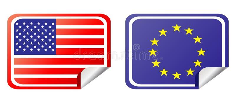 L'Eu e gli S.U.A. contrassegnano la bandierina illustrazione vettoriale