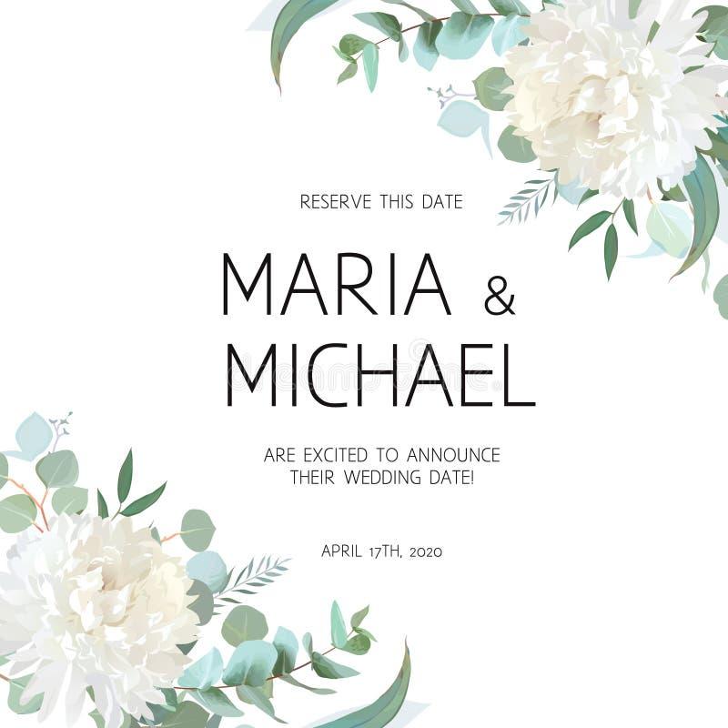 L'eucalyptus di nozze ed il vettore bianco dei fiori del crisantemo progettano royalty illustrazione gratis
