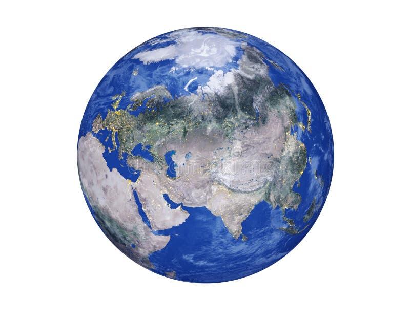 L'Eurasie et continents africains sur le globe de la terre de planète d'isolement sur le fond blanc Éléments de cette image meubl image stock