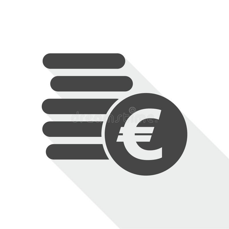 L'euro conia l'icona piana illustrazione di stock