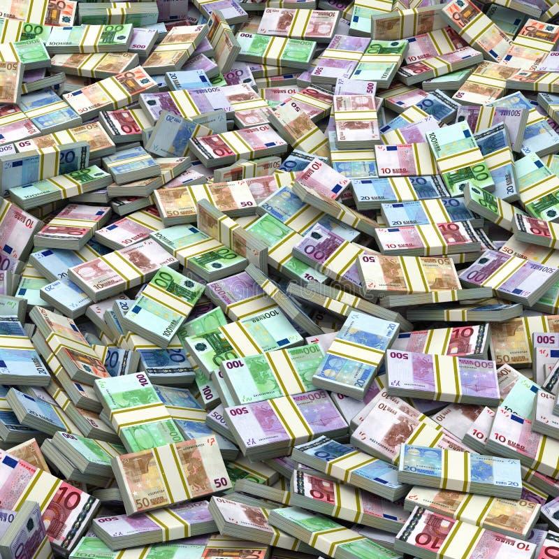 L'euro emballe le fond de pile Crayon lecteur, lunettes et graphiques illustration libre de droits