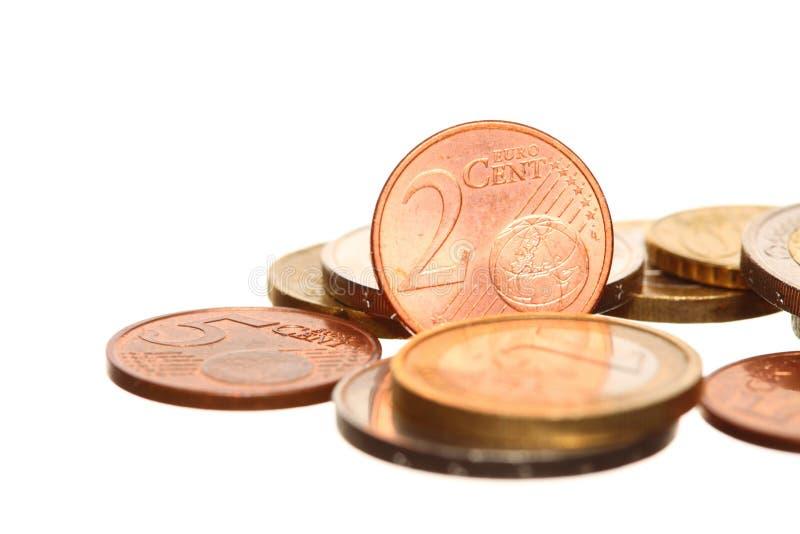 L'euro européen de devise invente l'argent sur le blanc photos libres de droits