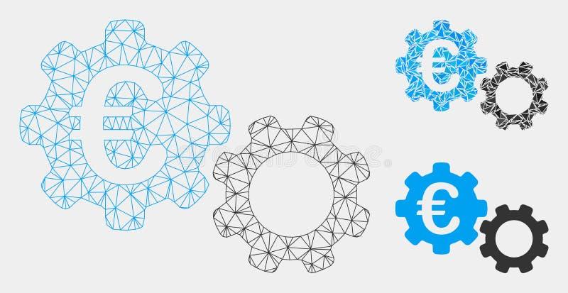 L'euro mécanique dirige l'icône de mosaïque de Mesh Carcass Model et de triangle illustration de vecteur