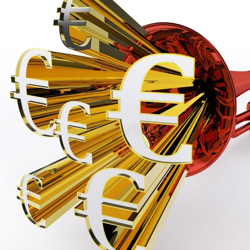 L'euro segno mostra la valuta e la ricchezza europee della Banca illustrazione di stock