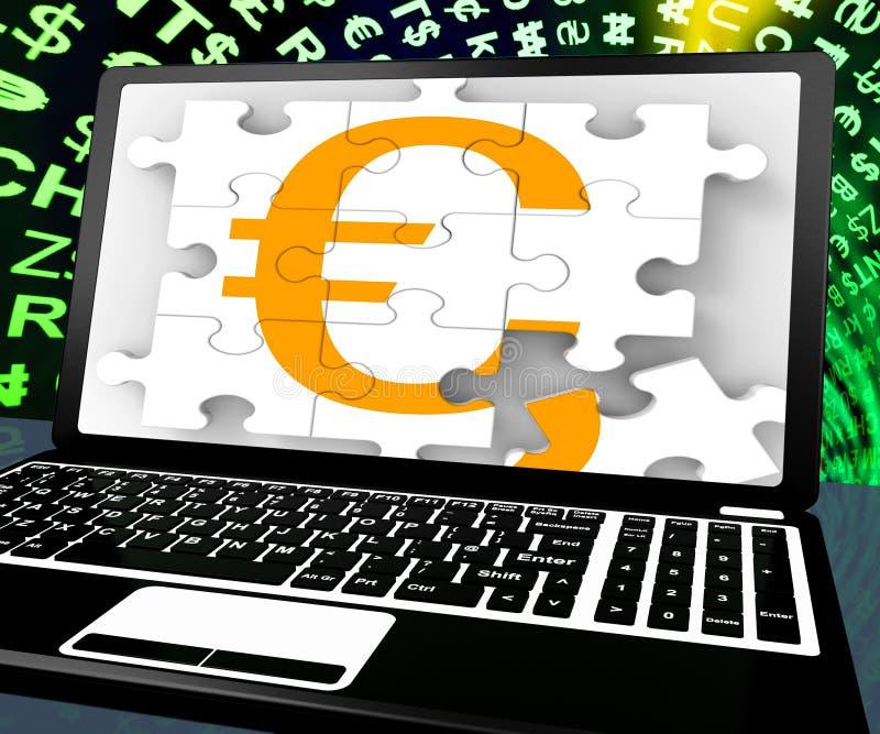 L'euro segno sul computer portatile mostra lo scambio di soldi online illustrazione di stock
