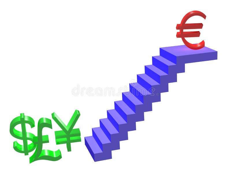 L'euro va in su illustrazione vettoriale