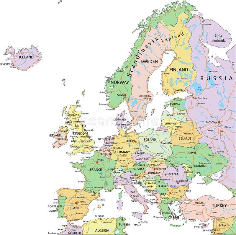 L'Europe - carte politique editable fortement détaillée avec des couches séparées illustration de vecteur