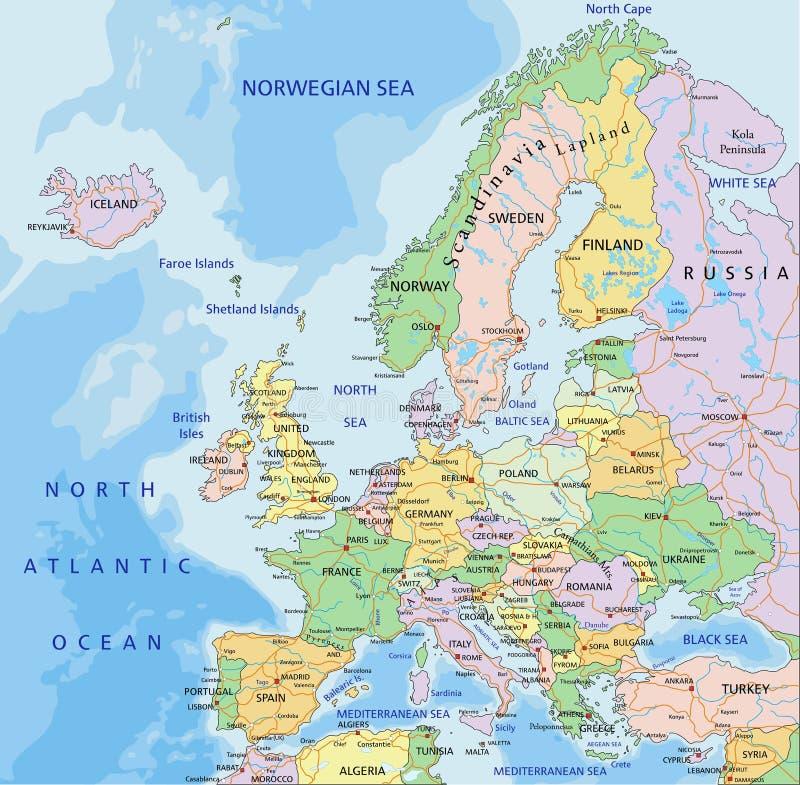 L'Europe - carte politique editable fortement d?taill?e avec des couches s?par?es illustration libre de droits