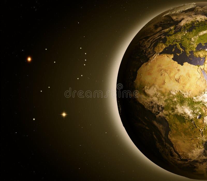 L'Europe et l'Afrique de l'espace à l'aube illustration libre de droits