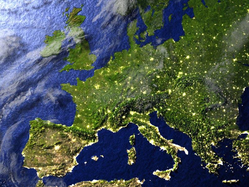 L'Europe la nuit sur le modèle réaliste de la terre illustration libre de droits