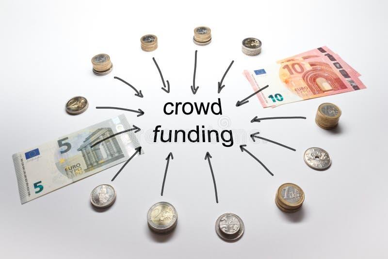 L'europeo di finanziamento della folla conia le banconote immagine stock libera da diritti