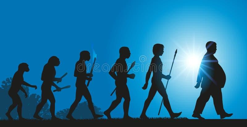 L'evoluzione di umanità verso un aumento nell'obesità dovuto una dieta difficile illustrazione di stock