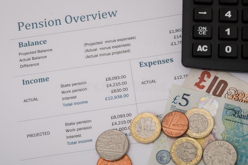 L'examen britannique de pension avec l'argent britannique, 2017 énoncent des chiffres de pension images stock