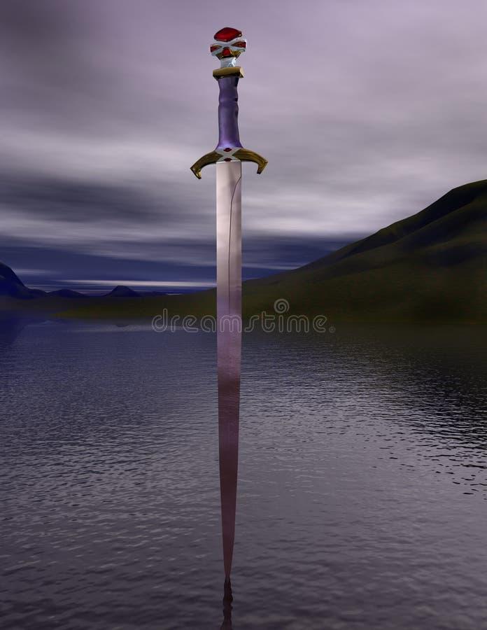 L'excalibur d'épée sur le lac illustration stock