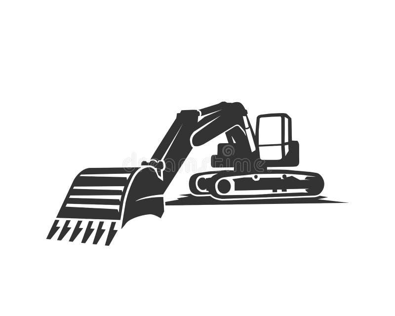 L'excavatrice de noir de silhouette sur un fond blanc illustration stock