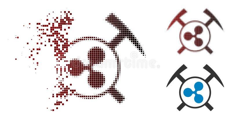 L'exploitation tramée endommagée d'ondulation de pixel martèle l'icône illustration de vecteur