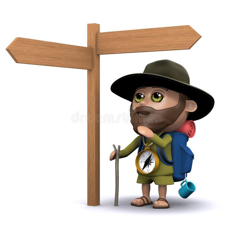 l'explorateur 3d décide son itinéraire illustration stock