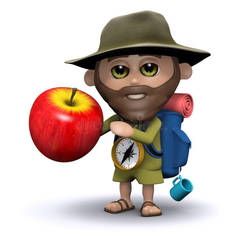 l'explorateur 3d prend une pomme illustration libre de droits