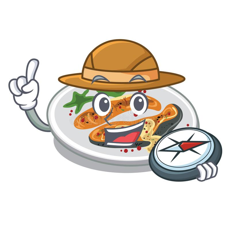 L'explorateur a grillé des saumons a servi sur le panneau de bande dessinée illustration libre de droits