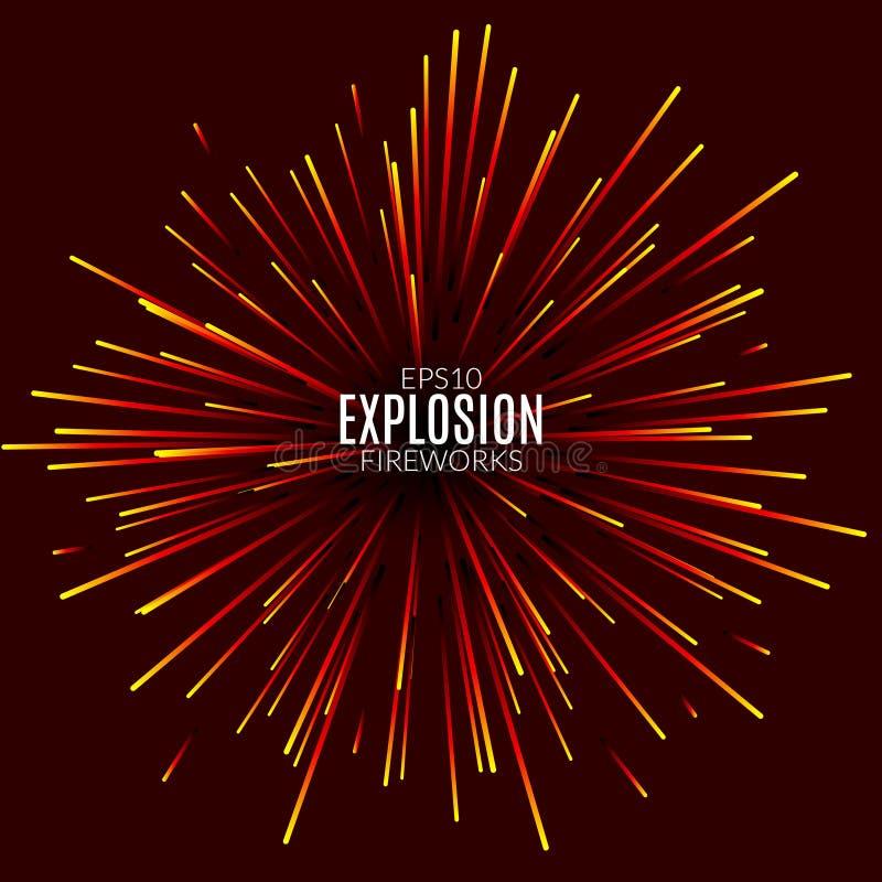 L'explosion abstraite raye le concept de feu d'artifice Calibre de conception moderne de technologie Effet de la lumière illustration stock