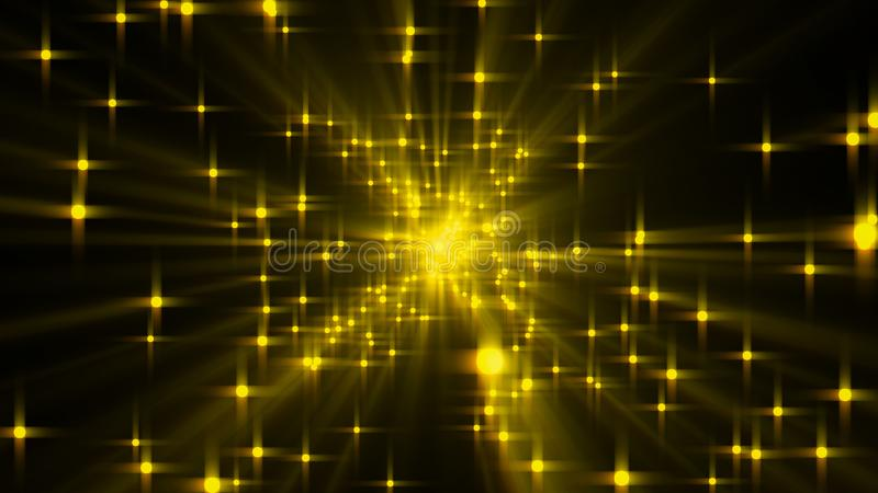 L'explosion des étoiles avec le lustre et des lignes, 3d rendent le contexte généré par ordinateur illustration libre de droits